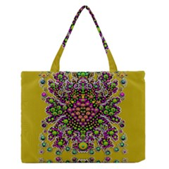 Fantasy Flower Peacock With Some Soul In Popart Medium Zipper Tote Bag
