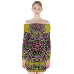 Fantasy Flower Peacock With Some Soul In Popart Long Sleeve Off Shoulder Dress