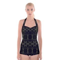 Black Wand Boyleg Halter Swimsuit