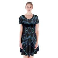 Hum Ding Short Sleeve V Neck Flare Dress