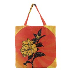 Vector Asian Flowers Grocery Tote Bag