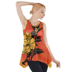 Vector Asian Flowers Side Drop Tank Tunic
