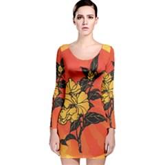 Vector Asian Flowers Long Sleeve Velvet Bodycon Dress