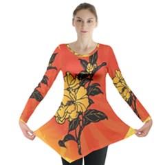 Vector Asian Flowers Long Sleeve Tunic