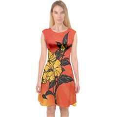 Vector Asian Flowers Capsleeve Midi Dress