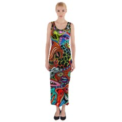 Vector Art Pattern Fitted Maxi Dress
