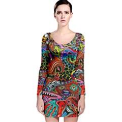 Vector Art Pattern Long Sleeve Velvet Bodycon Dress