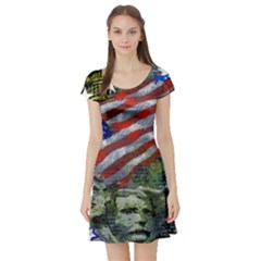 Usa United States Of America Images Independence Day Short Sleeve Skater Dress
