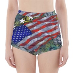 Usa United States Of America Images Independence Day High-Waisted Bikini Bottoms