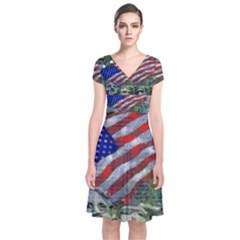 Usa United States Of America Images Independence Day Short Sleeve Front Wrap Dress