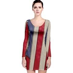 Usa Flag Long Sleeve Velvet Bodycon Dress