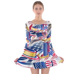 United States Of America Usa  Images Independence Day Long Sleeve Skater Dress