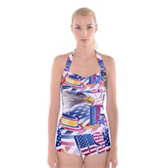 United States Of America Usa  Images Independence Day Boyleg Halter Swimsuit
