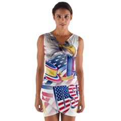United States Of America Usa  Images Independence Day Wrap Front Bodycon Dress
