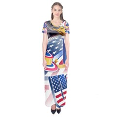 United States Of America Usa  Images Independence Day Short Sleeve Maxi Dress