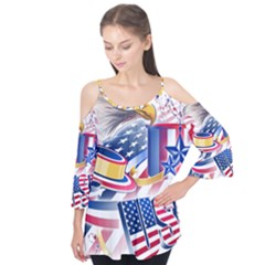 United States Of America Usa  Images Independence Day Flutter Tees