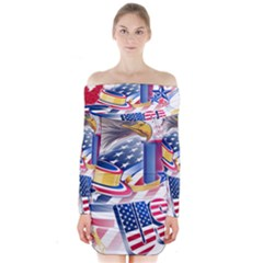 United States Of America Usa  Images Independence Day Long Sleeve Off Shoulder Dress