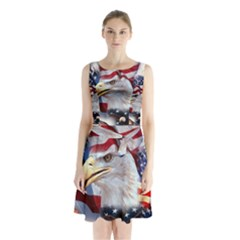 United States Of America Images Independence Day Sleeveless Chiffon Waist Tie Dress