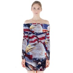 United States Of America Images Independence Day Long Sleeve Off Shoulder Dress