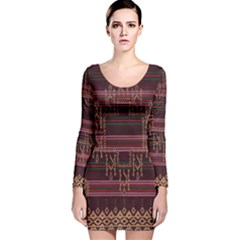 Ulos Suji Traditional Art Pattern Long Sleeve Velvet Bodycon Dress