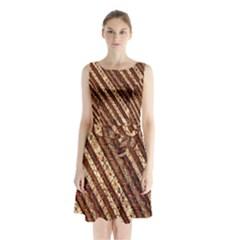 Udan Liris Batik Pattern Sleeveless Chiffon Waist Tie Dress