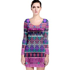 Tribal Seamless Aztec Pattern Long Sleeve Bodycon Dress