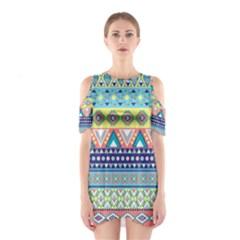 Tribal Print Cutout Shoulder Dress