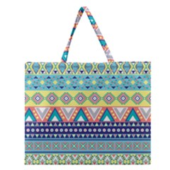 Tribal Print Zipper Large Tote Bag