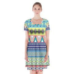 Tribal Print Short Sleeve V-neck Flare Dress