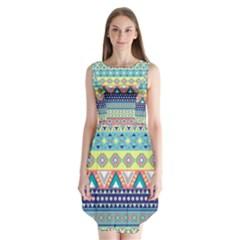Tribal Print Sleeveless Chiffon Dress