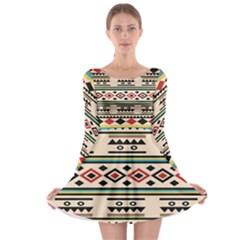 Tribal Pattern Long Sleeve Skater Dress