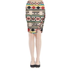 Tribal Pattern Midi Wrap Pencil Skirt