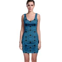 Triangle Knot Blue And Black Fabric Sleeveless Bodycon Dress