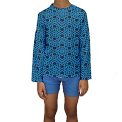 Triangle Knot Blue And Black Fabric Kids  Long Sleeve Swimwear