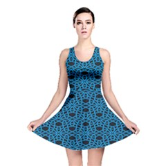 Triangle Knot Blue And Black Fabric Reversible Skater Dress