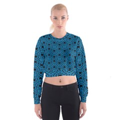 Triangle Knot Blue And Black Fabric Women s Cropped Sweatshirt