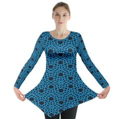 Triangle Knot Blue And Black Fabric Long Sleeve Tunic