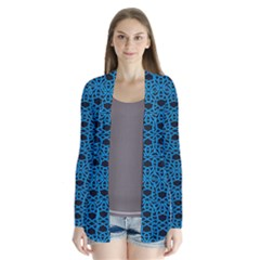 Triangle Knot Blue And Black Fabric Drape Collar Cardigan