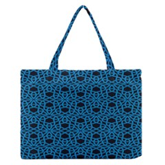 Triangle Knot Blue And Black Fabric Medium Zipper Tote Bag