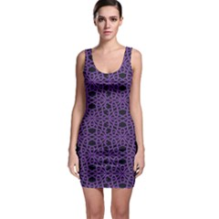 Triangle Knot Purple And Black Fabric Sleeveless Bodycon Dress