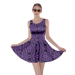 Triangle Knot Purple And Black Fabric Skater Dress