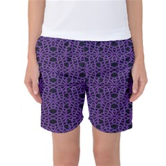 Triangle Knot Purple And Black Fabric Women s Basketball Shorts