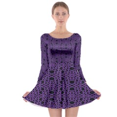 Triangle Knot Purple And Black Fabric Long Sleeve Skater Dress