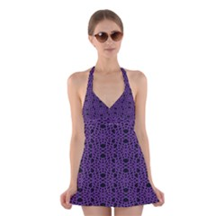 Triangle Knot Purple And Black Fabric Halter Swimsuit Dress