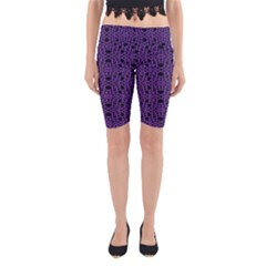 Triangle Knot Purple And Black Fabric Yoga Cropped Leggings