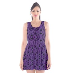 Triangle Knot Purple And Black Fabric Scoop Neck Skater Dress