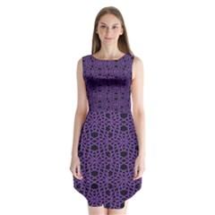 Triangle Knot Purple And Black Fabric Sleeveless Chiffon Dress