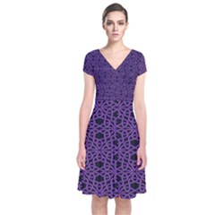 Triangle Knot Purple And Black Fabric Short Sleeve Front Wrap Dress