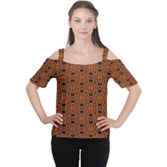 Triangle Knot Orange And Black Fabric Women s Cutout Shoulder Tee