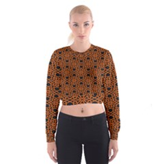 Triangle Knot Orange And Black Fabric Women s Cropped Sweatshirt